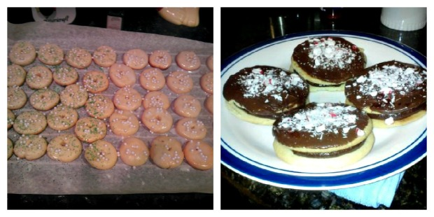 Lemon Wreath Cookies made by moi (left) and Peppermint Chocolate Sandwich Cookies made by my guy :)